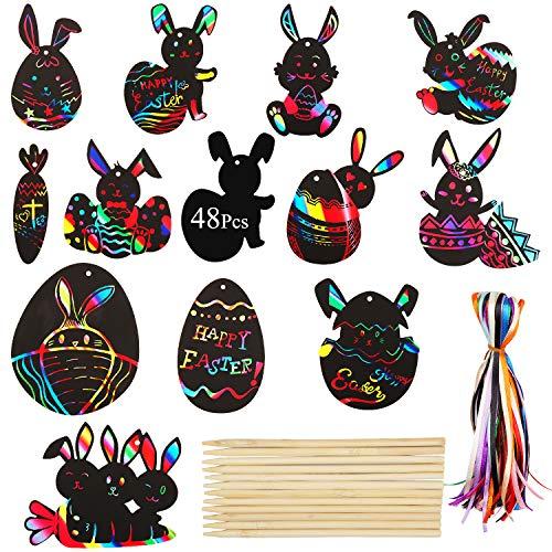 Xingsky ScratchArt 48 ScratchArtparaNiños Pascua de Resurrección Forma de Huevo, Zanahoria y Conejo LáminasDibujo Patrón de Arco Iris Oculto Recubierto de Negro con Cuerdas y Alfileres de Madera
