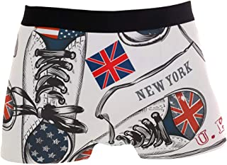 Mens Boxer Brief US UK Flag Underwear No Ride-up Stretch Breathable Sport Shorts