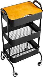 AGTEK 3-Tier Metal Utility Cart with Wheels, Black Storage Rolling Cart with Handles, Movable Makeup Cart with Plants