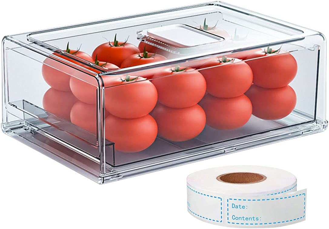 WYOUTDOOR Fridge Rapid rise Drawer Food Storage Pantry Sto Courier shipping free Clear Containers