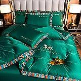 Individual Funda De EdredóN Y Funda,Ropa De Cama De Seda, Estilo Europeo De Verano Lavable Silky Silky Friendly Single Bed Doble Single Duvet Funda De Almohada Regalo-J_220 * 240 Cm (87 '* 94') 4pcs
