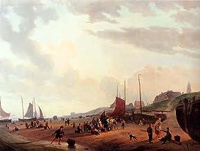 """Fisherfolk And Townsfolk On Scheveningen Beach In The Afternoon by Jzn Couwenberg - 20"""" x 25"""" Premium Canvas Print"""