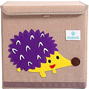 BEARCUBS Cute Animal Designs Foldable Toy Storage Box for Kids – 13 x 13 in Cube Nursery Organizer for Children's Clothes, Toys – Stackable Toy Chest Storage Bin with Lid (Hedgehog)