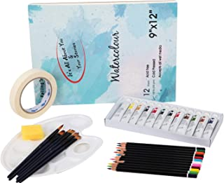 Falling in Art 34 Piece Watercolor Painting Set of 12 Colors with Paper Pad, Brushes, Palette, Masking Tape and More
