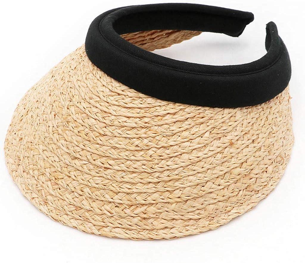 Men/Womens Summer Sun Hat Straw Sun Visor Hat Open Empty Top Travel Bucket Beach Sun Hat Breathable Clip-On Peaked Baseball Cap