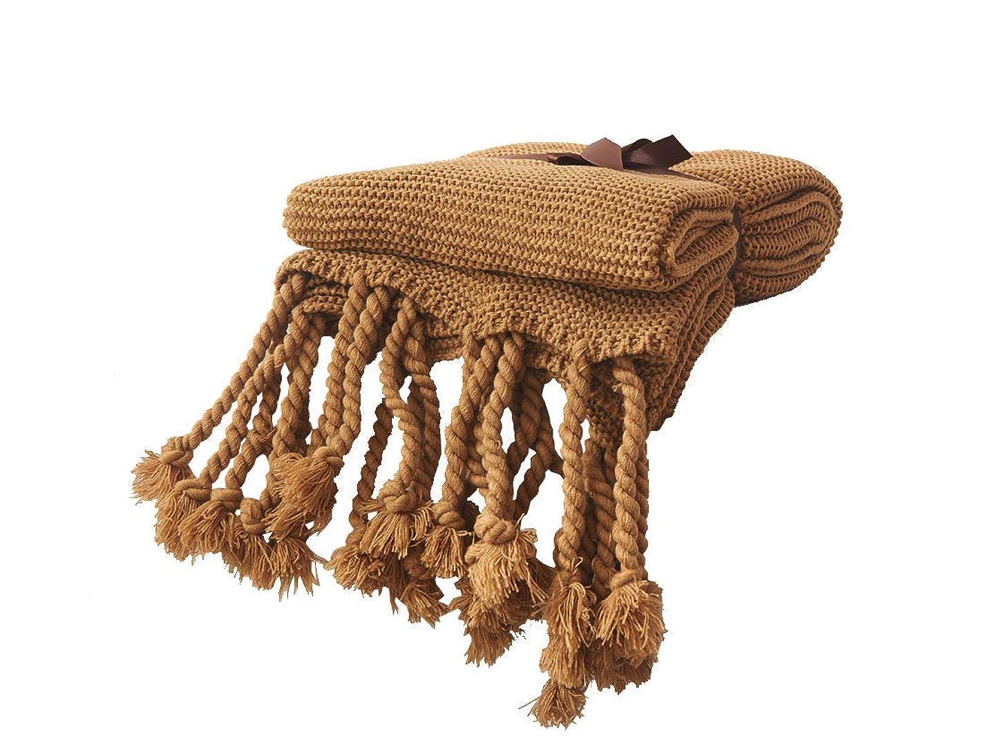 クラック死んでいる不平を言うニットベッドスローブランケットフリンジ付き 北欧風 ホーム デコレーション ソファー カウチ毛布 ひざ掛け(130x170cm,ブラウン)