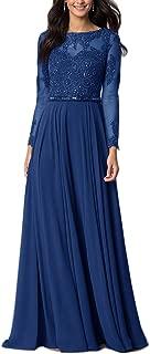 Women's Vintage Long Sleeve Floral Chiffon High Waist Party Evening Dress Formal Prom Skirt