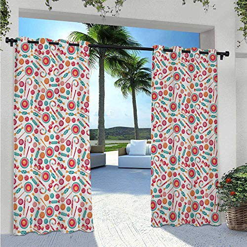 Adorise Outdoor Curtain Drapes Colorful Christmas Lollipops Candies Cartoon Style Illustration New Year Treats Pergola Outdoor Drapes Matches Your Exterior Wall Multicolor W72 x L96 Inch