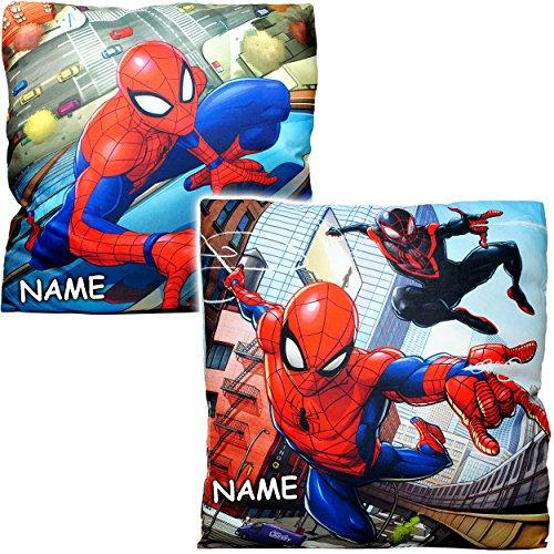 alles-meine.de GmbH 1 Stück _ Kissen / Kuschelkissen / Sitzkissen -  Ultimate Spider-Man  - inkl. Name - Mikrofaser - 40 cm * 40 cm - Schmusekissen - groß - beidseitig Bedruckt..