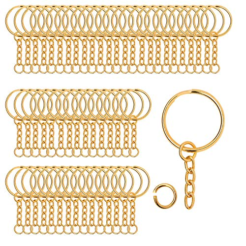 100 Pieces Metal Split Key Rings with Chain and Open Jump Rings, 1' Diameter Split Key Chain Rings for DIY Crafts, Keys, Pendant, Jewelry Making (Gold)