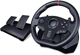 DYYD Pc Steering Wheel Game Steering Wheel with Pedals and Gearshift Paddles for PS4,PS3,PC,X360,Switch(Compatible with Al...