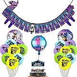 Sayala Suministros para fiestas de 28piezas,16 globos de fiesta de látex,3 globos de aluminio,pancarta de feliz cumpleaños del juego y adorno de pastel de cumpleaños para decoraciones infantiles (Kit)