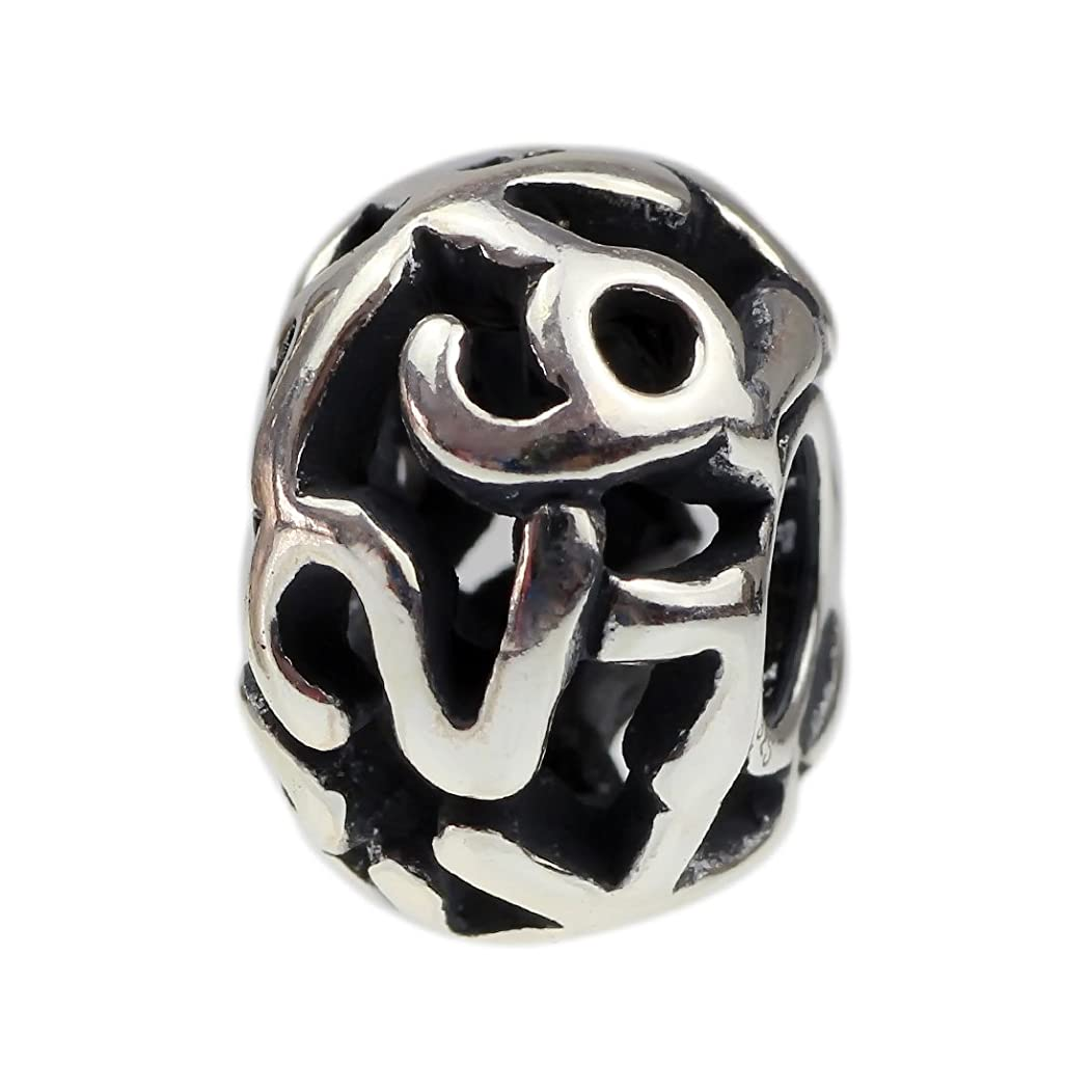 Beads Hunter Jewelry 1-9 Number Goes Around Design Decorative Spacer .925 Sterling Silver Bead Charm
