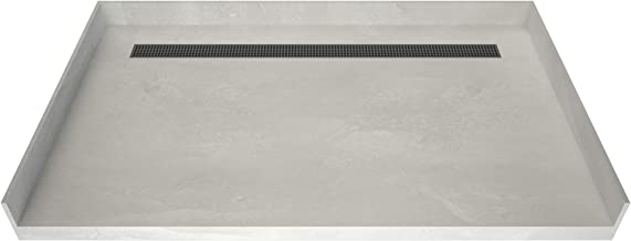 """Tile Redi USA RT4263CBFB-PVC-SQBN Redi Trench Barrier Free Shower Pan with Back Brushed Nickel Trench, 42"""" D x 63"""" W"""