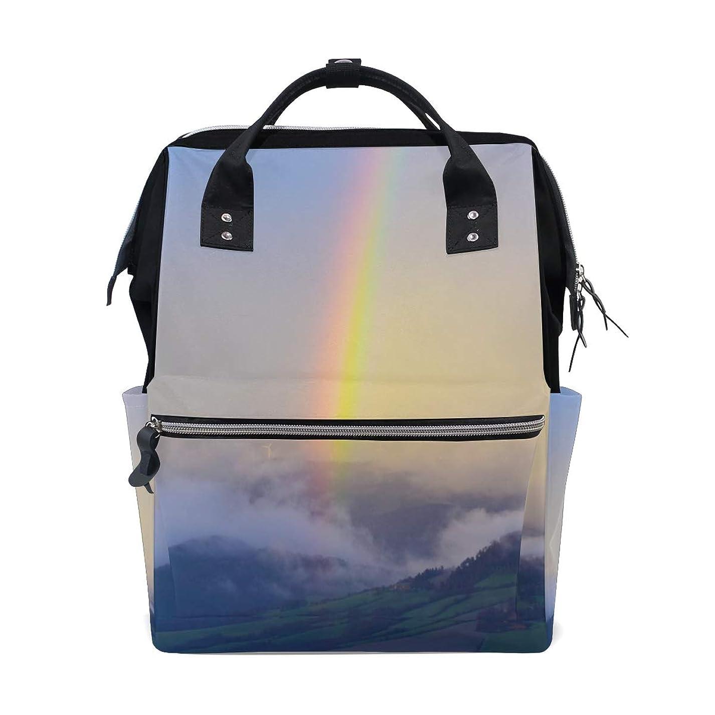 Backpack Landscape Field Mountain Rainbow School Rucksack Diaper Bags Travel Shoulder Large Capacity Bookbag for Women Men ots707440030922