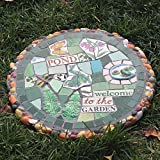 zenggp Garden Stepping Stone Mosaic Flower Plant Stand Table Floral Stool Garden Bistro Patio Coffee Decor,Frog