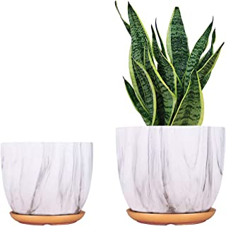 Ceramic Plant Pot 8 + 7 inch Flower Modern Planter Indoor Gardening containers Pack 2 with Drainage Hole and Saucer (White...
