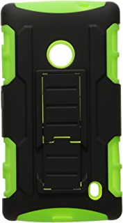 MYBAT Car Armor Kickstand Protector Cover Rubberized for Nokia Lumia 520 - Retail-Packaging - Black/Electric Green