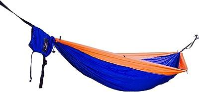Outdoor Viaje Camping doble hamaca F. 2personas/Toalla de playa/Toldo–Set Incluye correas de algodón, Suspensión, mosquetón, bolsa, funda, etc. Caso pantalla seda High tensity ultraligera Nylon, Orange / Blue / Orange 5mm Diamond