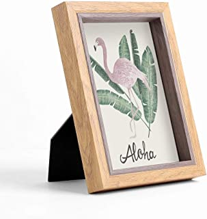 5x7 Picture Frame-MDF Wooden Glass Photo Frame-Decorative Brown Two Tone Rustic Picture Frames -Unique Desk Picture Frame with Easel-Horizontal/Vertical Vintage Wall Family Picture Frame (Light, 5x7)