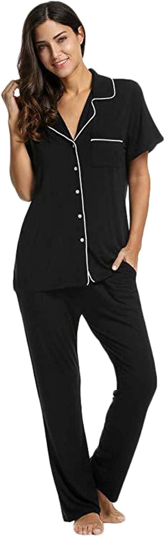 Andongnywell Women's Plus Size Nightgown Pajamas Set Long Sleeve Sleepwear Button Down Nightwear Soft Lounge Sets