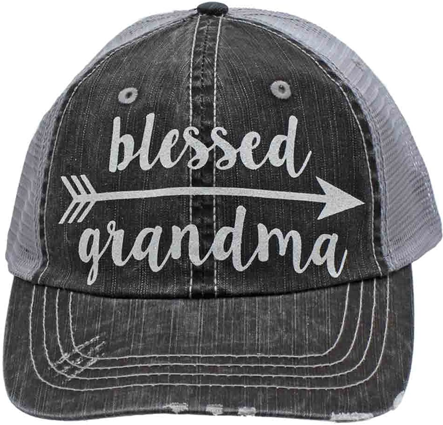 Blessed Grandma Arrow Glittering Distressed Trucker Style Cap Hat Rocks any Outfit