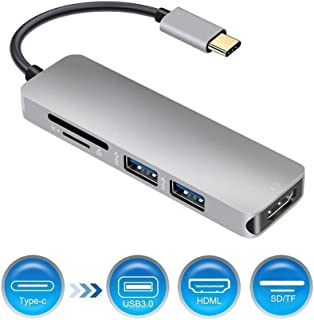 EMEBAY - USB C Hub, Type C Hub With 4K HDMI Output, SD & TF Card Reader, 2 USB 3.0 Ports Portable for MacBook Pro 2015/16/17 New MacBook, Chromebook, Samsung S8, USB Flash Drives and Other Type-C Devices (Silver)
