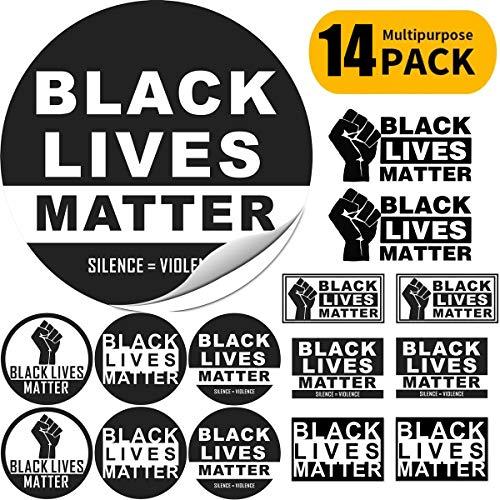 Hamowtux 14 Pack Multi Size Black Lives Matter Bumper Sticker BLM Vinyl Decal Fist Logo Anti-Racism BLM Movement for Cars Phones Trucks Helmets Boats Bikes Laptops Windows Walls T-Shirts