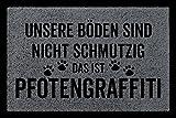 Interluxe SCHMUTZMATTE Fußmatte PFOTENGRAFFITI Hund Tierisch Türmatte Geschenk Einzug Dunkelgrau