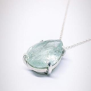 Prezioso ciondolo in argento sterling con eccezionale acquamarina blu/verdastra naturale di 16,03 carati (19 mm x 15,2 mm)...