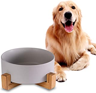Grey Ceramic Dog Bowls with Wood Stand, Dog Water Bowls and Food Dish, Heavy Weighted or No Tip Over Dog Comfort Food Bowl...