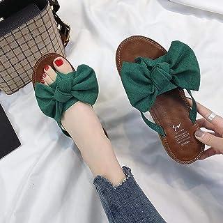 ZUOX Tongs Homme Slipper Tongs de Plage,Chaussures de Plage à Pinces Bowknot, Tongs antidérapantes Plates-Vert_35,Doux Ant...