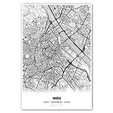 Zulumaps Poster 30x45cm Stadtplan Wien - hochwertiger