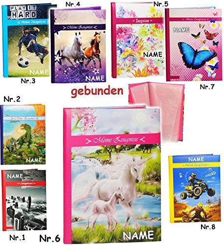 A 4 - Zeugnismappe / Zeugnisbuch -  Meine Zeugnisse  _  Einhorn mit Fohlen  - incl. Name - GEBUNDEN mit festen Seiten - A4 - Softcover - Dokumentenmappe -..