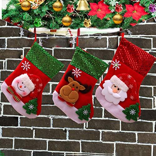 siphly Medias de Navidad Grande Calcetines de Navidad Aguinaldo Decoracion Bolsa de Caramero Retro Hechos a Mano...