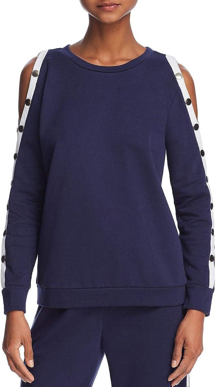 Honey Punch Womens Cold Shoulder Striped Sweatshirt