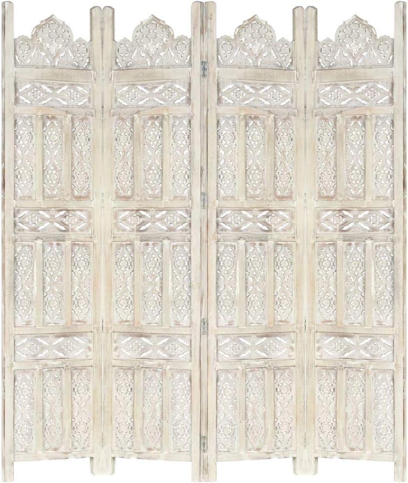 vidaXL Madera Mango Biombo 4 Paneles Tallado a Mano Divisor Pantallas Separador Dormitorio Salón Oficina Despacho Sala de Estar Decoración Blanco