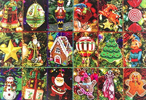 Christmas Festive Ornaments 1000 Piece Jigsaw Puzzle, Winter Holiday Jigsaws Puzzles Game Xmas Gifts for Adults Kids