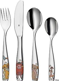 WMF Set de 4 couverts pour enfant - En acier inoxydable - Motif : roi lion - Poli - Passe au lave-vaisselle