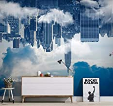 ZDBWJJ Customized 3D Wallpaper Mural Nordic City Building Cloud Sky hot air Balloon TV Background Wallpaper for walls-450cmx300cm