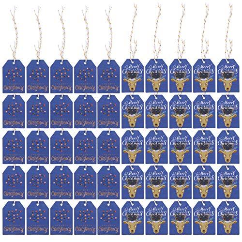 STOBOK Weihnachtskraftpapier Geschenkanhänger Elch Hängende Etiketten mit Seilen für DIY Weihnachtsbaum Geschenkverpackung Urlaub Dekorationen Blau 200Pcs
