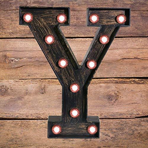 Goldene schwarze LED Festzelt-Buchstabe – Industrieller Vintage Stil beleuchtet Alphabet Buchstabe Zeichen für Cafe Hochzeit Geburtstag Party Weihnachten Lampe Home Bar Initialen Decor – Y