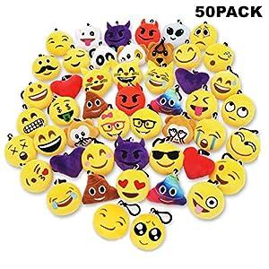 61P8NtRANWL. SS300  - Sunliday 50Pack Emoji Llaveros, Suministros de Fiesta,Decoración del Bolso y del Anillo dominante para el Regalo 5cm(Clip Negro)