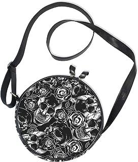 Ahomy Damen Umhängetasche, rund, Schwarz / Weiß, Totenköpfe / Blumen / Kreis, Handy, Mini-Umhängetasche, Geldbörse