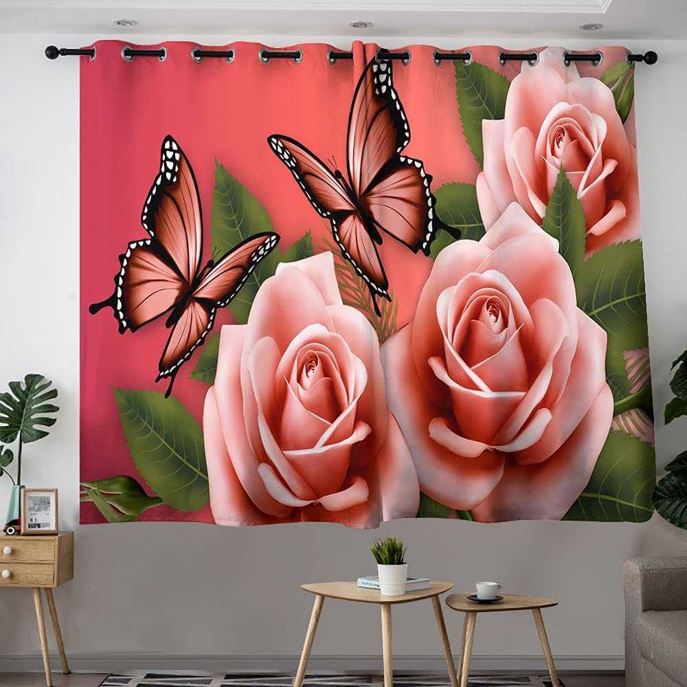 GY Outlet ☆ Free Shipping Beautiful Butterflies and Roses Girls Window Room Curtai Department store Kids