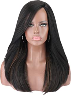 Kalyss 22 Inches Women's Straight Black Wigs with Highlights Premium Yaki Futura Synthetic Hand Tited Ear to Ear Lace Front Wigs for Women Natural Looking Lace L Parting Hairline Daily Wear