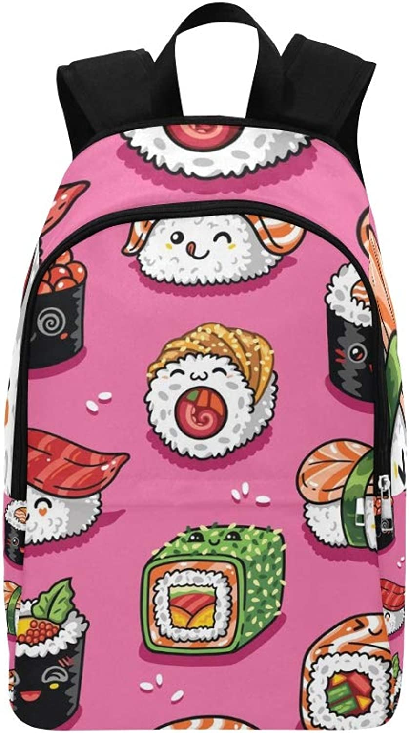 Cute Cartoon Rolls Sushi Casual Daypack Travel Bag College School Backpack for Mens and Women
