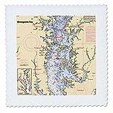 3dRose Florene, Nautical Map Dekor–Print von
