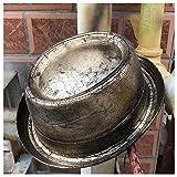 LHZUS Sombrero de cuero para hombre, sombrero de piel dorado, gafas de engranaje, sombrero Steampunk plano, sombrero para caballero (color: dorado, tamaño: 57-58 cm)