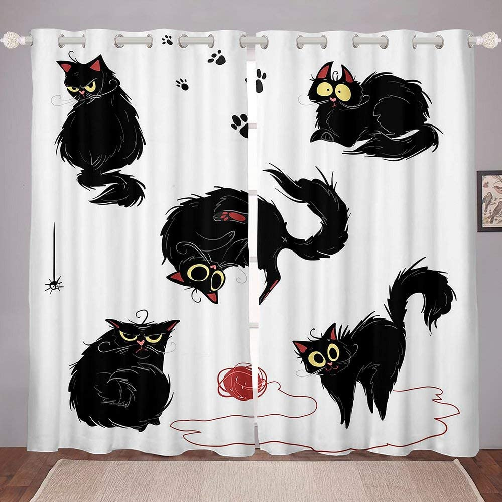 Hippies Play Wool White Award-winning store Pattern Curtains Black for Bedroom excellence Cat W